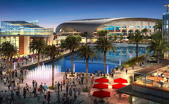 A rendering of the mixed-use project that includes the Inglewood stadium (credit: HKS)