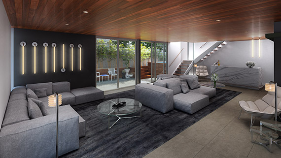 A rendering of the condo interiors