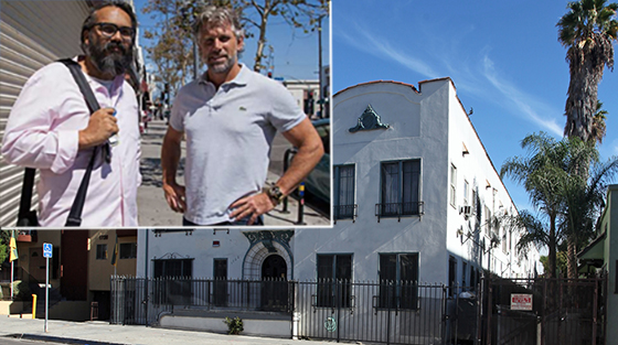 Jeffrey Birkmeyer, left, and David Walker, right, and the Garfield Apartments in Hollywood (credit: Rafael Cardenas)