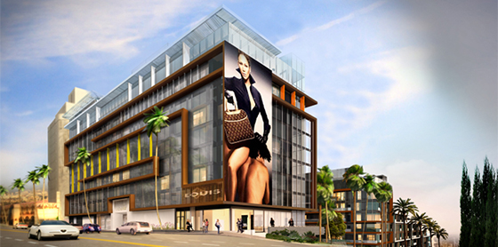A rendering of the Sunset Time hotel project in West Hollywood (credit: Ehrlich Architects)