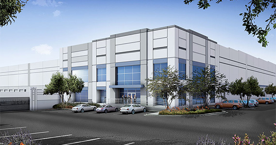 Rendering of an industrial development at 825 South Ajax Avenue in LA's City of Industry (credit: Bridge Development)