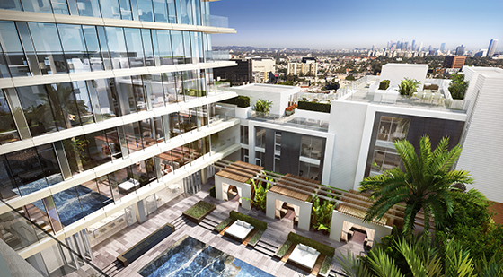 A rendering of the view from the Wetherly Terrace at the Four Seasons Private Residences Los Angeles