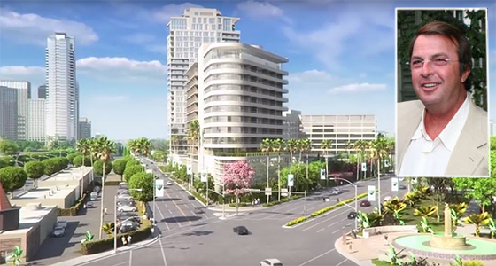 Beny Alagem and a rendering of his 26-story tower (credit: New York Social Diary, Beverly Hills Garden & Open Space Initiative)