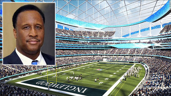 Inglewood Mayor James Butts and a rendering of the Rams' stadium (credit: Planning Report, HKS Architects)