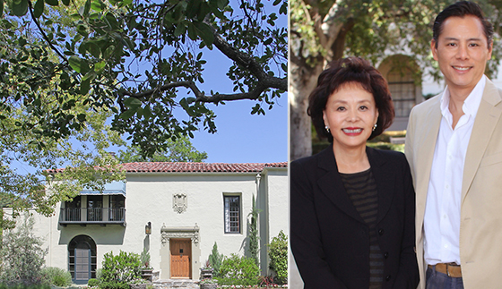 Linda and Brent Chang of Compass and a property they sold at 1505 Circle Drive in San Marino