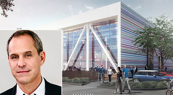 AwesomenessTV CEO Brian Robbins and a rendering of the Pen Factory (credit: SOM)