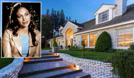 "J. Lo and her Hidden Hills home at 25067 Jim Bridger Road (inset: ""The Wedding Planner,"" courtesy of Columbia Pictures)"