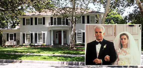 """500 North Almansor Street and a scene from """"Father of the Bride"""" (credit: itsfilmedthere.com) (inset: Steve Martin and Kimberly Williams in """"Father of the Bride,"""" courtesy of Touchstone Pictures)"""