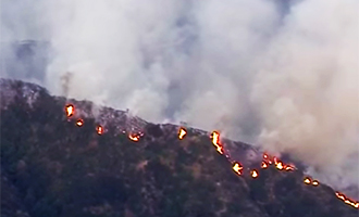 The fire on mountains north of the SanGabriel Valley (credit: YouTube)