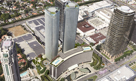 A rendering of the Century Plaza project in Century City (via Next Century Partners)