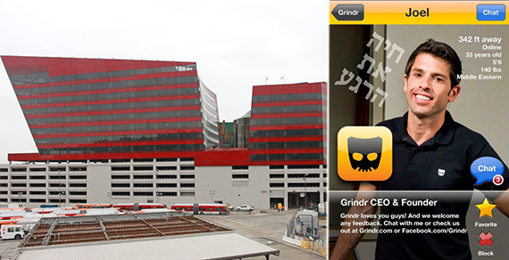 The RedBuilding at 750 San Vicente Boulevard and Grindr founder and CEO Joel Simkhai on the Grindr interface