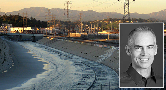 The Los Angeles River in Downtown L.A. and Council member Mitch O'Farrell