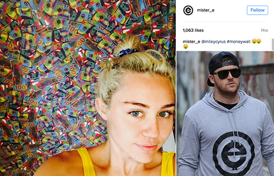 Miley Cyrus and her money wall, and Mister E, the artist who created it (credit: Mister E Instagram)
