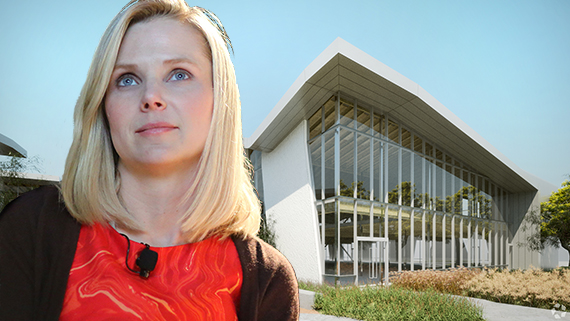 Yahoo CEO Marissa Mayer and a building the compnsy leases at 11995 West Bluff Creek Drive in Playa Vista