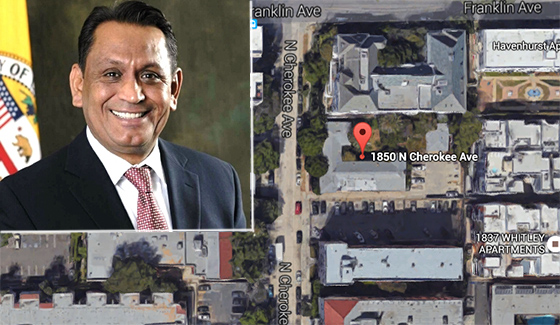 The building at 8150 North Cherokee Avenue in Hollywood and Councilman Gil Cedillo