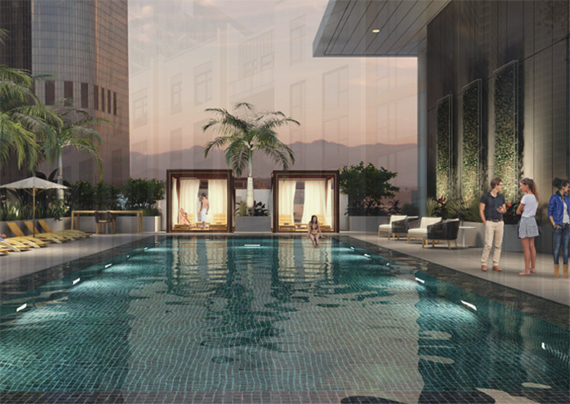 A rendering of the pool at the Park Fifth