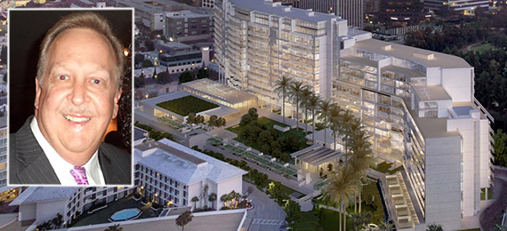 Barry Brucker and a rendering of One Beverly Hills at 9900 Wilshire Boulevard