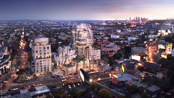 Rendering of Gehry's design for 8150 Sunset Boulevard