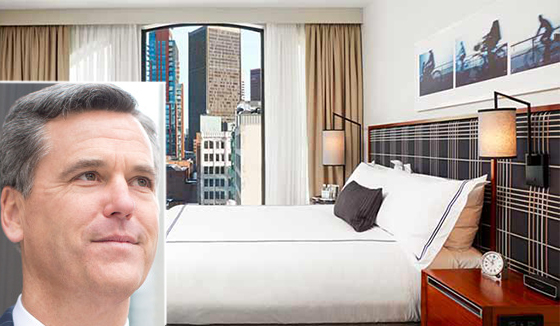 A room at the Godfrey Hotel in Boston and hotelier John Rutledge