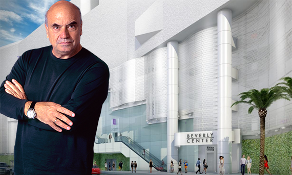 Massimiliano Fuksas and a rendering of the renovated Beverly Center, slated for completion in 2018 (Credit: Alchetron, Business Wire)