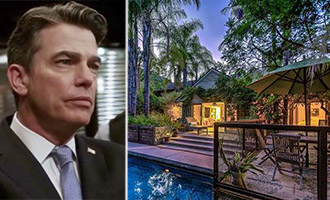 Gallagher from Law & Order SVU and his property at 1130 N Bundy Drive (credit: Zillow, inset c/o NBCUniversal)