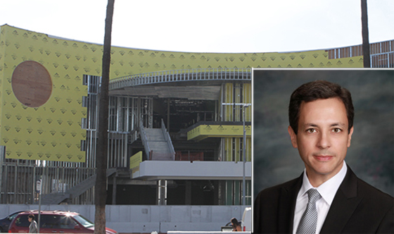The stalled Target Hollywood development (via Google Earth) and attorney Robert Silverstein who is fighting the project (via RobertSilversteinlaw.com)