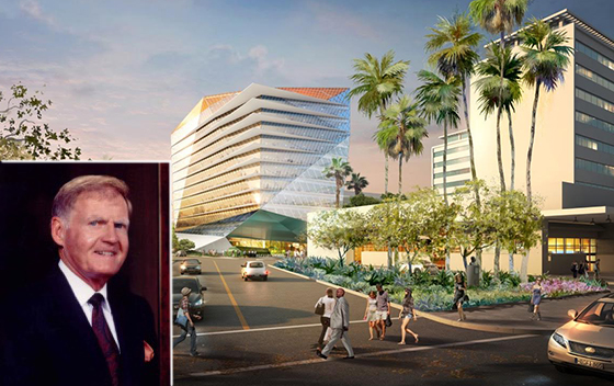 Developer Jerry Snyder and a rendering of the Wilshire Curson building, left of SAG/AFTRA's headquarters (credit: Jerde Partnership)