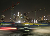 The downtown skyline is framed by cranes at a construction site near Staples Center. Los Angeles is in the middle of a building boom with three massive urban projects occuring simultaneously. Photo taken 12/11/06.  (Photo by Luis Sinco/Los Angeles Times via Getty Images)