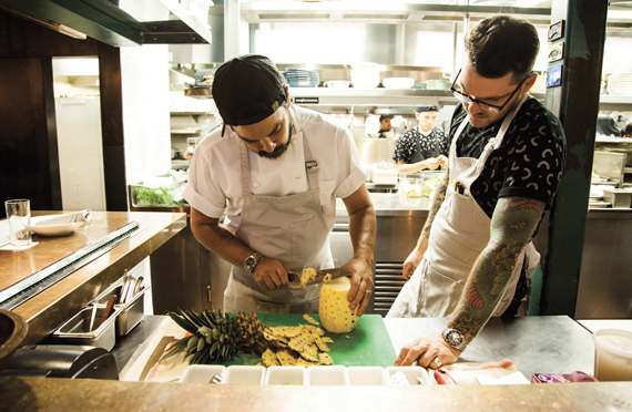 Louis Tikaram, the executive chef of E.P. & L.P., at left, with sous chef Richard Gregory.
