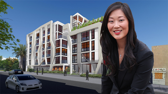 Jaime Lee and a rendering of the complex at 1718 North Las Palmas Avenue