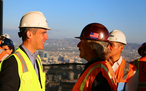 Los Angeles Mayor Eric Garcetti at the construction site of the Wilshire Grand, DTLA's tallest tower in development, which is slated to open in 2017.