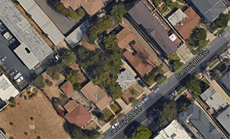 Aerial view of the four properties at 5314 to 5334 Cartwright Avenue