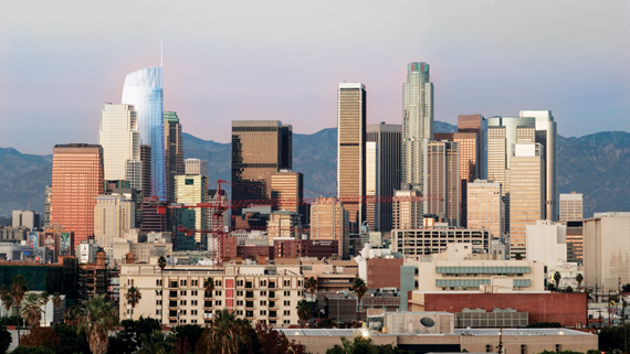 A rendering of the L.A. skyline after completion of the Wilshire Grand tower, with a spire that will reach 1,100 feet when the building is completed in 2017.
