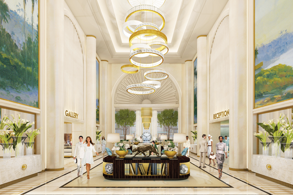 A rendering of the lobby of the Waldorf Astoria being built in Beverly Hills.