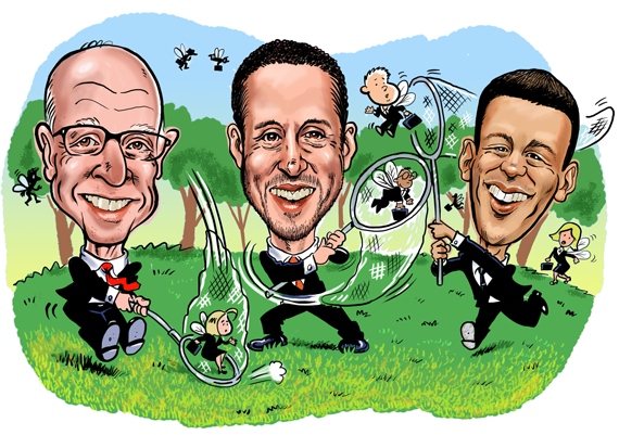 The fi rms of Douglas Elliman's Howard Lorber (left), The Agency's Mauricio Umansky (middle) and Compass' Robert Reffkin (right) have all poached top producers from other brokerages. (Illustration by Guy Parsons)