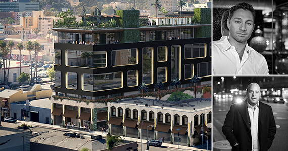 Rendering of the Hollywood hotel, Jesse Strauss (top right) and Noah Tepperberg (bottom right)