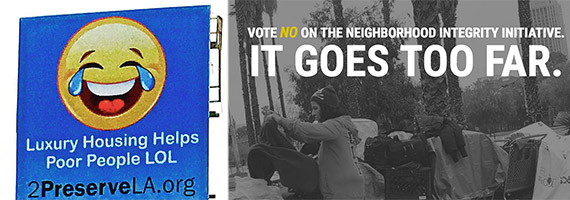 Left, an ad in support of the Better Neighborhood Initiative and right, campaign imaging from the