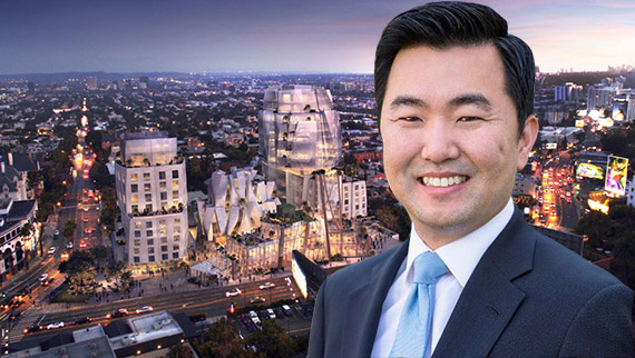 Council member David Ryu and a rendering of Frank Gehry's design for 8150 Sunset Boulevard