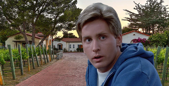 """Emilio Estevez as Andrew in """"The Breakfast Club"""" and his vineyard at 7013 Dume Drive (Credit: Zillow, inset c/o Universal Pictures)"""