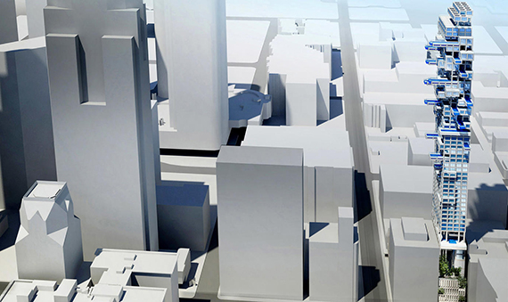 Rendering of the proposed tower at the corner of Hill and 5th Streets (Credit: CallisonRTKL via L.A. Times)