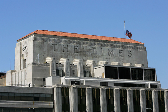 The L.A. Times building at (Credit: Getty)