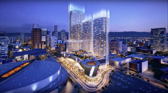 Rendering of Oceanwide Plaza on the block bounded by Figueroa, 11th, 12th and Flower Streets (Credit: Skyscraper forum)