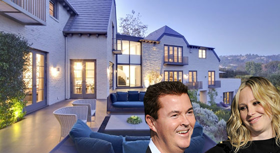 Simon and Natalie Fuller (Getty Images) and the estate they sold in Beverly Hills (via Hilton & Hyland)