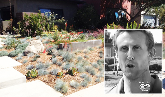Ryan Nivakoff and drought-resistant shrubbery in L.A. (Credit: CBS2, Landscaping Network)