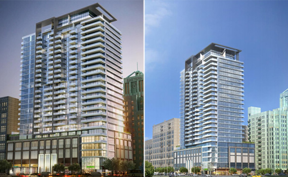 Renderings of the Alexan at the corner of Hill and 9th Streets (Credit: DTLA Neighborhood Council)