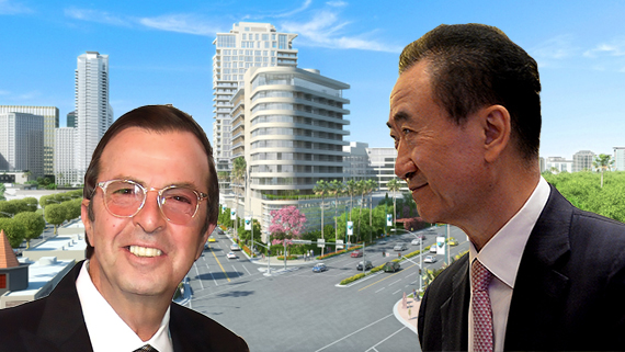 Beny Alagem, Wang Jianlin and a rendering of Alagem's defeated condo project