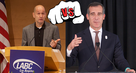 From left: Bobby Turner and Mayor Eric Garcetti (Barry Levine, graphic by Lexi Pilgrim)