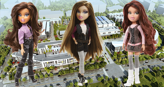 Bratz dolls and a rendering of the 24 project (Credit: Killefer Flammang Architects)