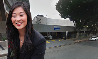 Jamison's Jaime Lee and the parking garage at 678 South Ardmore Avenue
