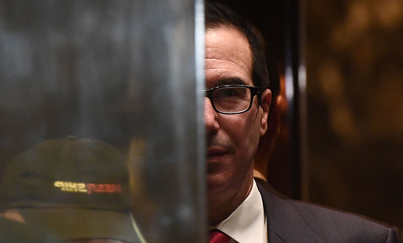 Steven Mnuchin at Trump Tower in New York (Jewel Samad/AFP/Getty Images)